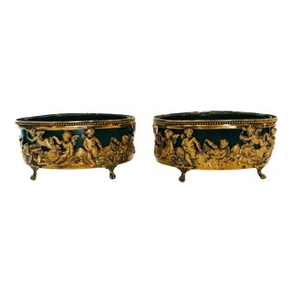 Brass Cache Pots With Faux Malachite Liners - a Pair For Sale