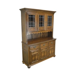Ethan Allen Royal Charter Oak Step Back China Cabinet For Sale