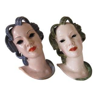 Austrian Art Deco Heads - A Pair For Sale