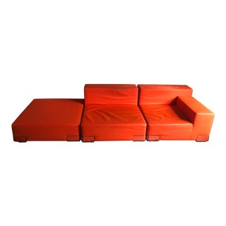 Kartell Scandinavian Modern Orange Upholstered 3 Pc. Sectional Sofa For Sale