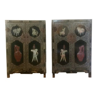 1960s Vintage Chinese Black Lacquered Cabinets - A Pair For Sale