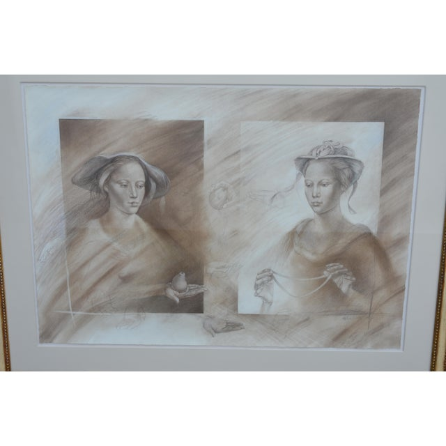 Two mixed-media portraits of women. Pencil and charcoal. The frames are 19th century but the art work is signed Peter...