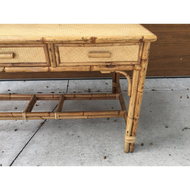 1950s 1950s Boho Chic Palm Beach Regency Bamboo & Rattan Desk For Sale - Image 5 of 9