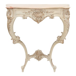 Rococo Style Marble Top Hall Table