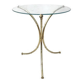 Faux Bamboo Brass Finish Tripod Side Table For Sale