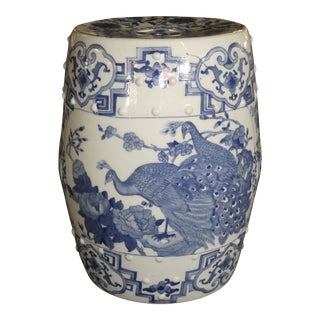 20th Century Chinese Blue and White Garden Seat For Sale