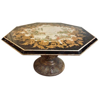 Octagon Chinoiserie Decorated Mirror Top Low Coffee Table With Carved Wood Base For Sale