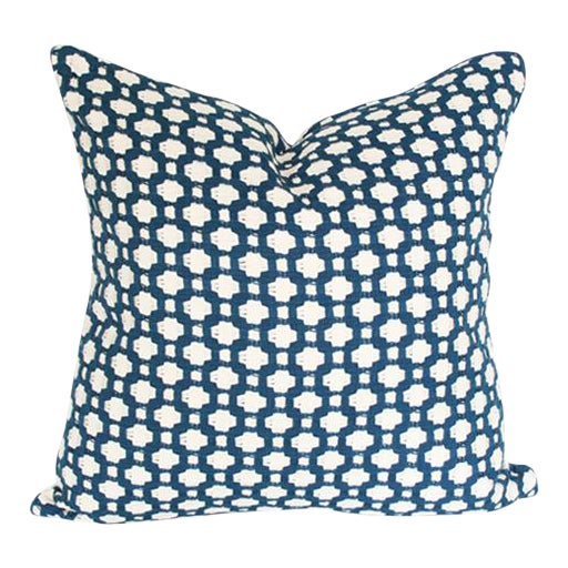 "Betwixt Indigo Blue Pillow Cover 18"" Sq - Image 1 of 3"