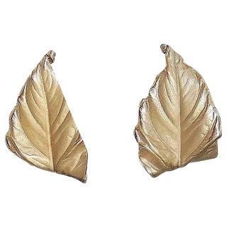 1950s Napier Leaf Earrings For Sale