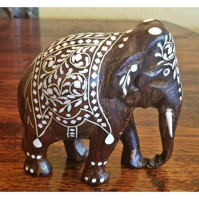 White 19th Century Anglo Indian Carved Rosewood and Bone Inlaid Elephant Figure For Sale - Image 8 of 8
