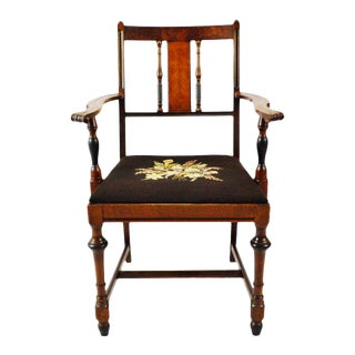 Antique Burl Wood Armchair With Needlepoint Upholstered Seat For Sale