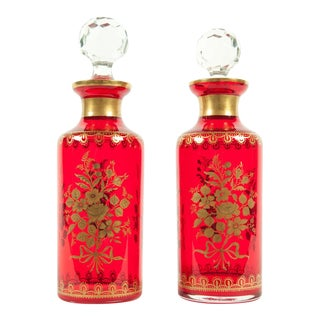 Pair of French Decanter Set With 24k Gold Design For Sale