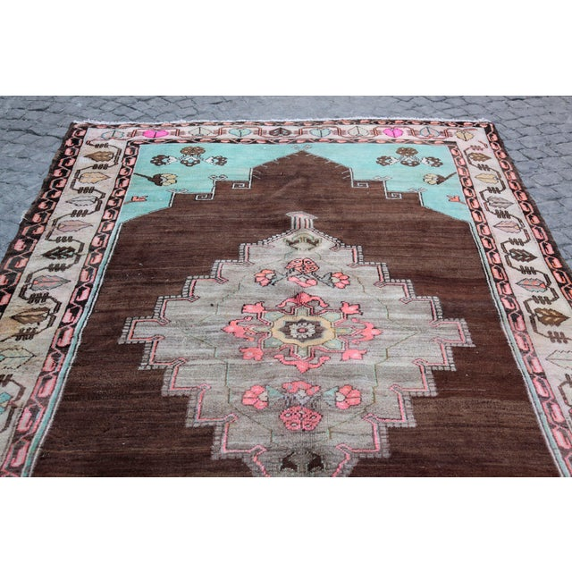 1980s Vintage Handmade Double-Knotted Turkish Rug - 9' 6'' X 5' 11'' For Sale - Image 11 of 13