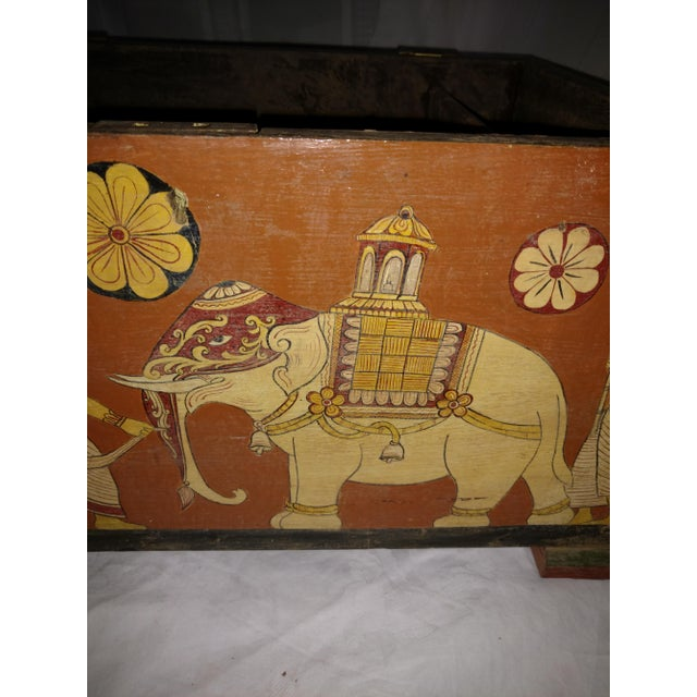 Antique Tea Chest Sri Lanka/Ceylonese Royal Procession Hand Painted For Sale - Image 9 of 12