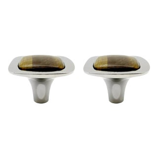 Addison Weeks Benson Knob, Nickel & Tigers Eye - a Pair For Sale