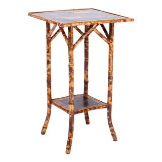 Antique Bamboo Table with Horse and Rider Motif For Sale