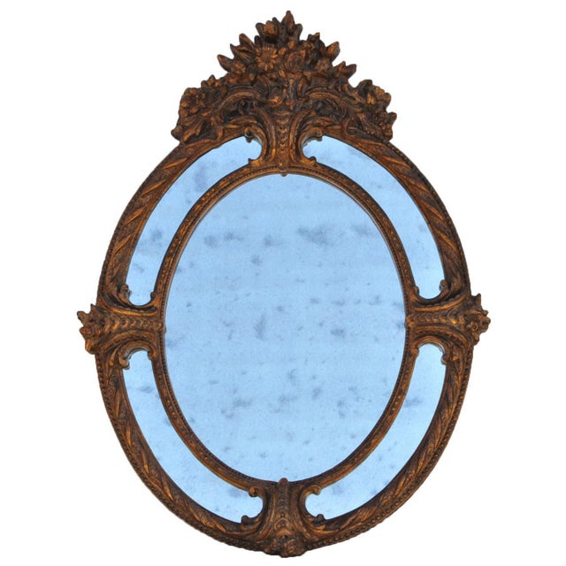 Gold Ornate Napoleon III Style Antiqued Oval Mirror For Sale - Image 8 of 8