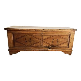19th Century French Country Walnut Blanket Chest/Trunk For Sale