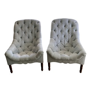 Mecox Tufted Spoon Chairs - a Pair For Sale