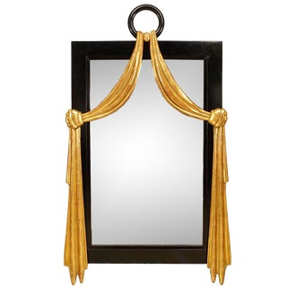 1940s French Mid-Century Ebonized Wall Mirror For Sale