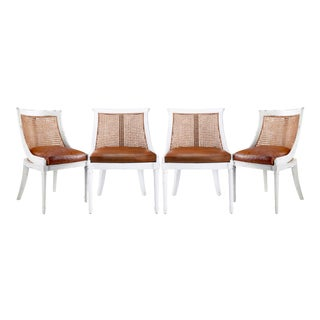 Bungalow 5 Bay White Antique Lacquered Mahogany & Cane Brown Leather Armchairs – Set of 4