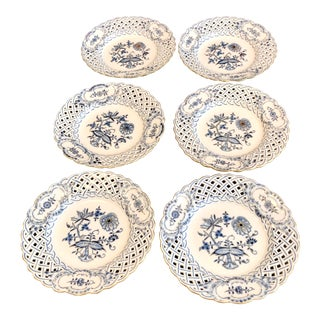 Antique Meissen Reticulated Blue Onion Crossed Swords Gold Trim Salad Plates - - Set of 6 For Sale
