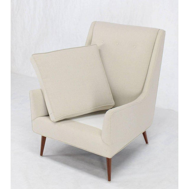 White New Upholstery High Dowel Legs McCobb Lounge Chair For Sale - Image 8 of 9