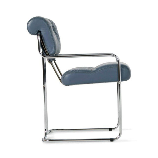 Pace Collection Blue-Grey Leather Tucroma Chair by Guido Faleschini for I4 Mariani- Set of 6 For Sale - Image 4 of 13
