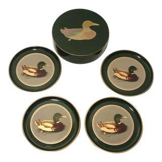 Otagiri Japan Lacquerware Green Mallard Duck Coasters - Set of 5 For Sale