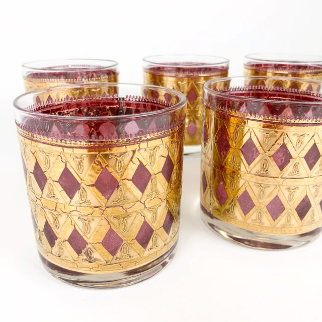 1960s Vintage Pink/Purple and Gold Cocktail Glasses - Set of 6 For Sale - Image 5 of 8