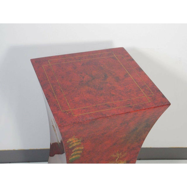 1970s 1970's Vintage Red Asian Style Pedestal For Sale - Image 5 of 13