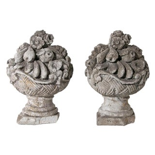 1950s Mid Century French Cast Stone Cornucopia - a Pair For Sale
