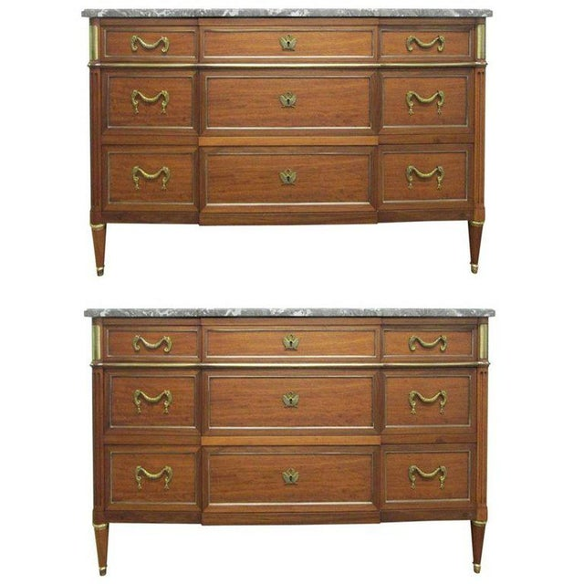 Pair of French Louis XIV Style Marble Top Dressers Commodes For Sale - Image 9 of 9