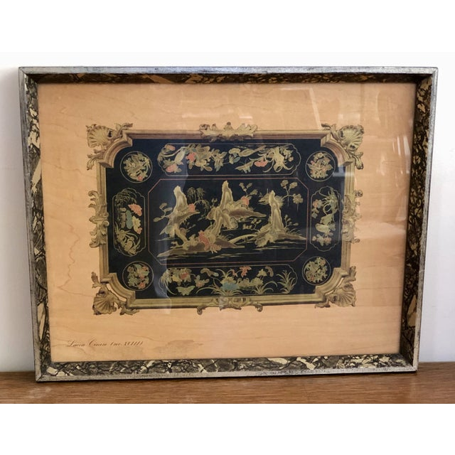 """Gold Vintage Turner Wall Accessories. Asian Landscape Scenes on Veneer """"Lacca Cinese (Sec. Xviii)"""" For Sale - Image 8 of 8"""
