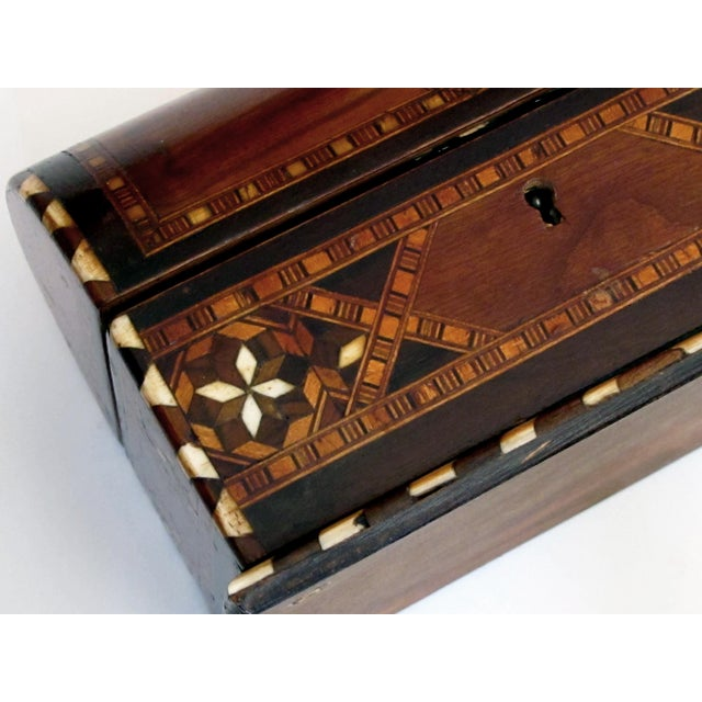 A Well-Crafted and Richly-Patinated Syrian Inlaid Trinket Box With Domed Lid For Sale In San Francisco - Image 6 of 7