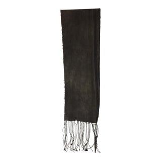Fashion Dark Grey and Stripe Mud Cloth Unisex Scarf For Sale
