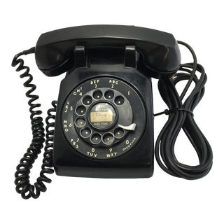 1956 Vintage Black Rotary Dial Desk Telephone For Sale