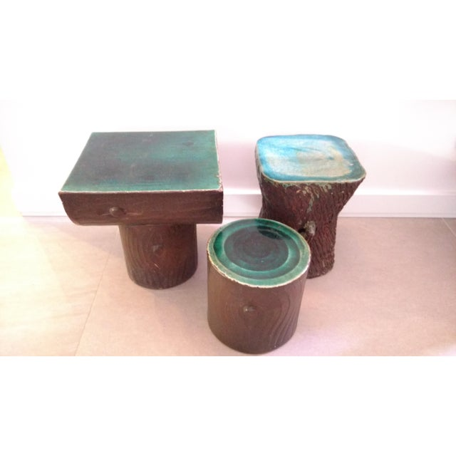 The beautiful blue and green glaze in these side tables caught my eyes. I found these in a flea market and I've never seen...