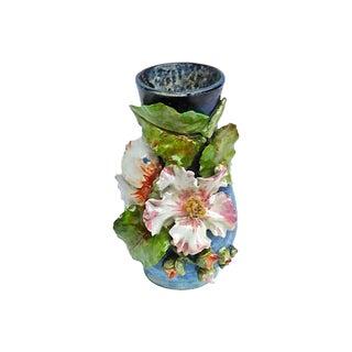 Antique Barbotine Majolica Floral Vase For Sale