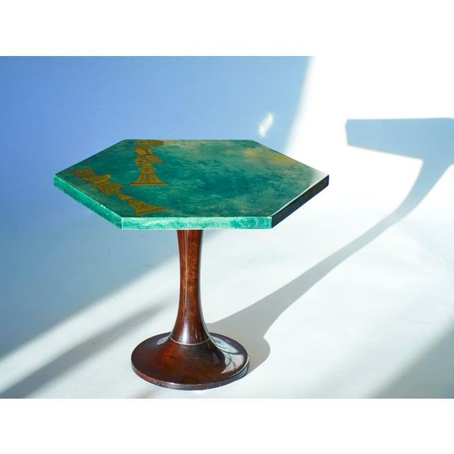 1950's Aldo Tura Hexagonal Side Table For Sale - Image 9 of 11