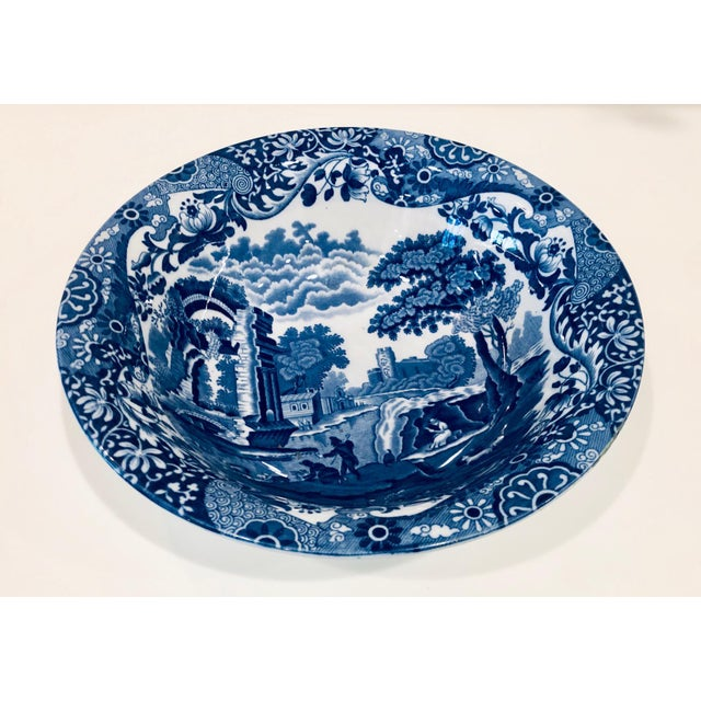 Lovely blue and white bowl with a scenic Italian landscape. Dates from the early 1900s.