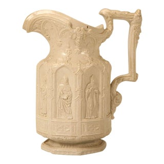 Circa 1842 English Staffordshire Apostle Jug with 8 Saints in Gothic Arches For Sale