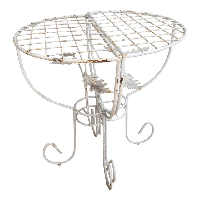 White Steel Mesh Coated Metal Demi-Lune Side Tables - a Pair For Sale