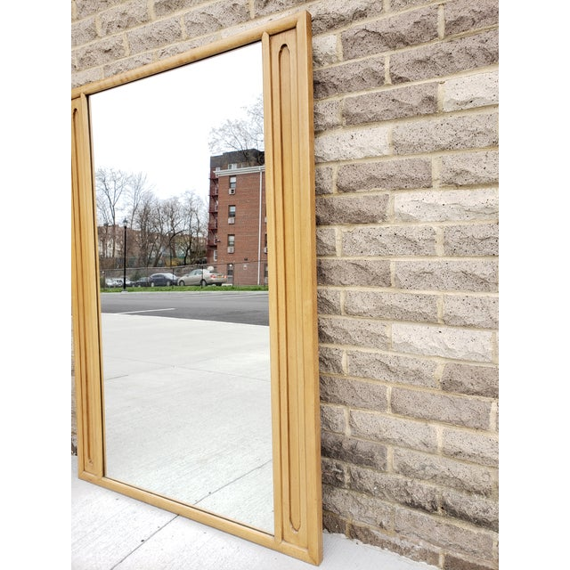 Hollywood Regency Mid Century John Stuart Blond Wood Large Mirror For Sale - Image 3 of 12