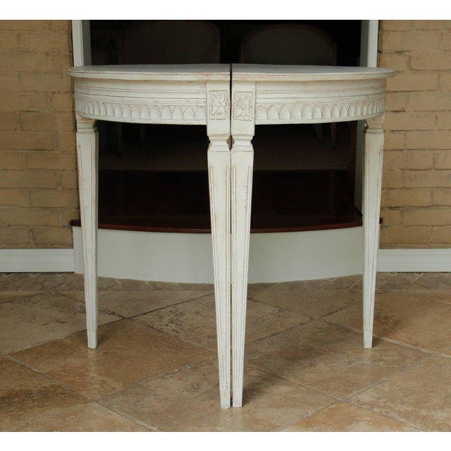 White 19th Century Pair of Swedish Gustavian Bedside Demilune Console Tables For Sale - Image 8 of 9