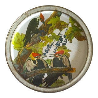 Vintage Mid Century Audubon Pileated Woodpecker Lithograph Sunshine Biscuit Round Tin Serving Tray For Sale