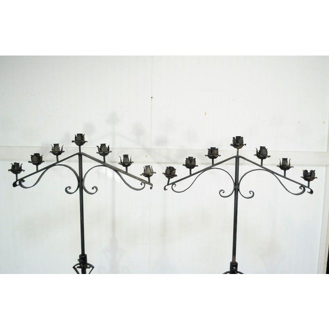 "61"" Pair of Antique Gothic Mission Arts & Crafts Wrought Iron Candelabras Church For Sale - Image 4 of 11"
