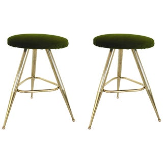 Pair of Italian Brass Stools For Sale