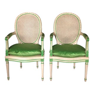 Louis XVI Style Painted Neoclassical Chairs -A Pair For Sale