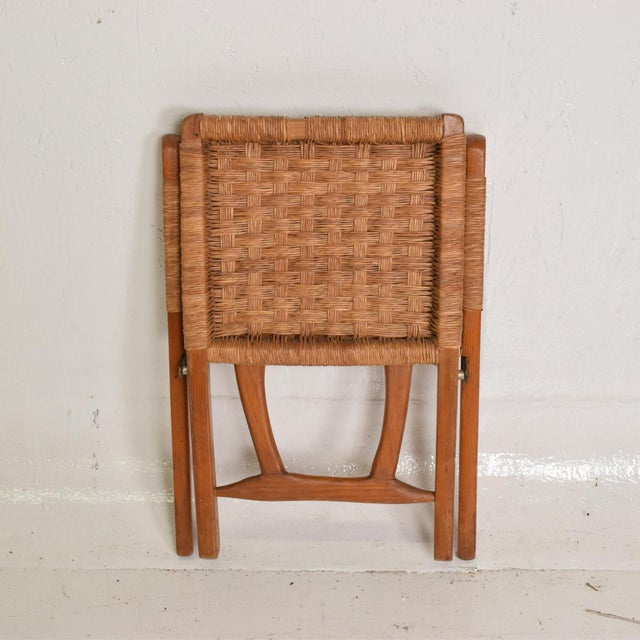 Wood Mexican Modernist Small Folding Chair After Clara Porset For Sale - Image 7 of 8